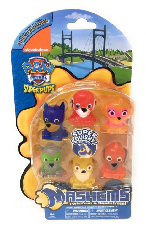 PAW PATROL - Mash'ems - Squishy Fun - 6 FIGURE CRYSTAL PACK - NEW